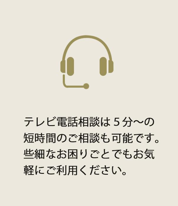 テレビ電話相談は5分からの短時間のご相談も可能です。些細なお困りごとでもお気軽にご利用ください。