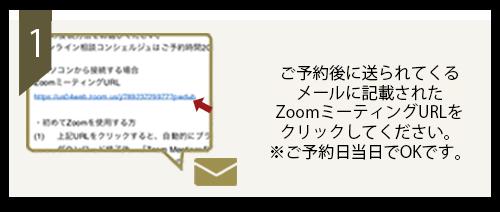 ご予約後に送られてくるメールに記載されたzoomミーティングURLをクリックしてください。※ご予約日当日でOKです。